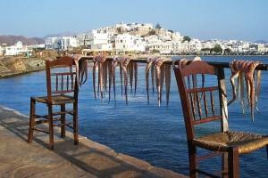 Pulpos en Naxos, la gastronomia, otro de los atractivos de Grecia. Foto de Luca Moglia.